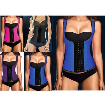 Plus Size 6XL Steel Boned Sexy Double Shoulder Belt Black Purple Blue Rose Red Women Slimming Latex Corset = 1958240452