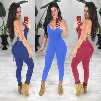 Shoulder Strap Deep V-Neck Backless Jumpsuit Rompers