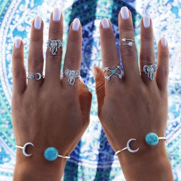 Bohemian 6pcs/Pck Vintage Anti Silver Blue stone Elephants Rings Arrows Moon Lucky Rings Set for Women Party