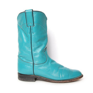 Vintage Turquoise Justin Boots - Cowboy Boots - Cowgirl Boots - Size 6.5 / 7 - Roper Riding Boots - Teal Boots - Grunge - Boho - Psych