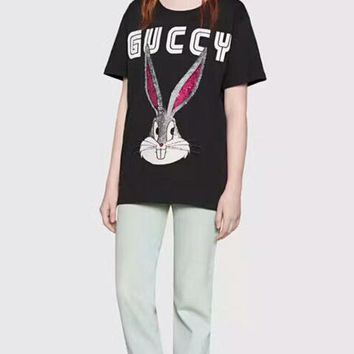 GUCCI 2018 spring and summer counter section sequin rabbit forest series wild T-shirt short sleeve F-AA-SYSY