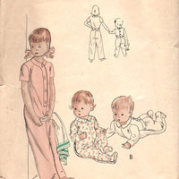 Vintage 40s Vogue Sewing Pattern 2484 Toddler Baby Boy Girl Onesuit One Piece Feetsie Pajamas Sweet Pea Sleeper Pyjamas Size 4 Years