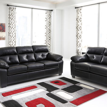 Ashley Furniture 44601-38-35 2 pc Bastrop collection Midnight durablend upholstered sofa and love seat set