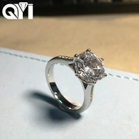 QYI Luxury 4ct Solitaire Engagement Rings Round Cut 6 Prong Sona 925 Sterling Silver Cubic Zirconia Wedding Ring For Women