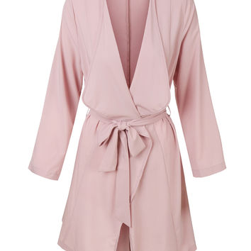 LE3NO Womens Lightweight Open Front Draped Trench Coat Jacket with Self Tie