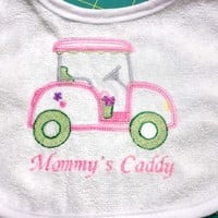 RESERVED for Barb Baby Bibs Golf Mommys Caddy Handmade Embroidered
