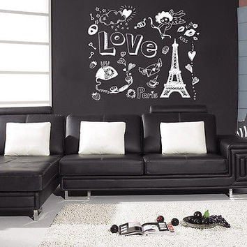 Love Paris heart angel sun happiness Room Stylish Wall Art Sticker Decal 8217