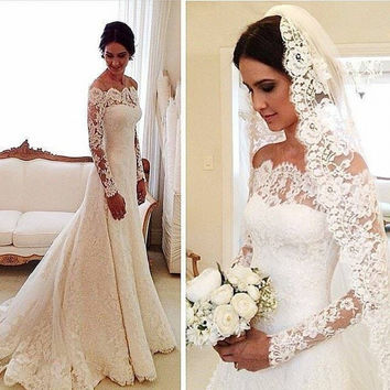 Long Sleeve Lace Wedding Dress Elegant Off The Shoulder A-Line Sweep Train