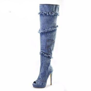 Blue Denim High Heels Open Toe Over the Knee high boots