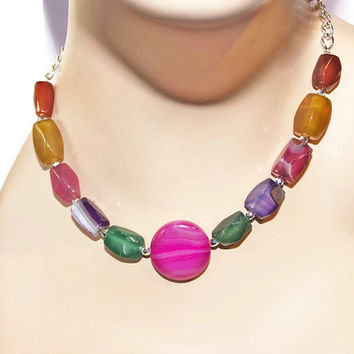 Bright Color Gemstone Necklace, Rainbow Necklace, Agate Necklace, Bead And Chain Necklace