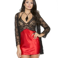 Charmeuse Chemise With Lace Bodice