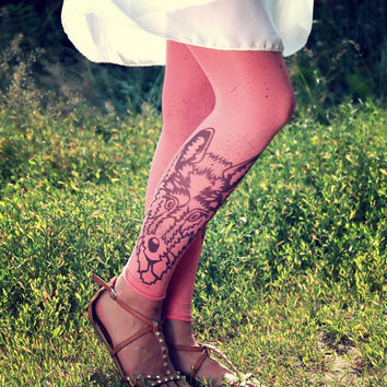 Free Shipping -Wolf Head Footless Coral Tattoo Tights Leggings  - Made to order :)