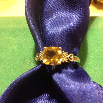 Citrine Sterling RING Sz 7.5 1.5 TCW Yellow Silver CZ 925 Emerald Cut Sparkly Vintage Cubic Zirconia Engagement Cocktail New Jewelry Bridal