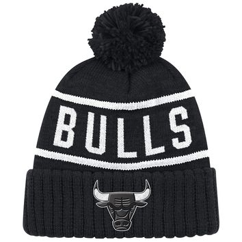 Chicago Bulls Reflective Patch High 5 Knit Hat by Mitchell & Ness