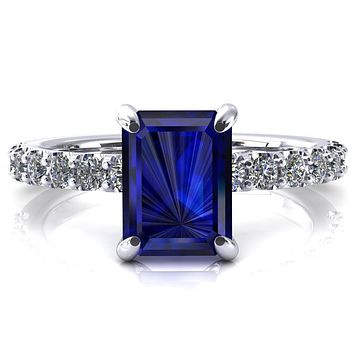 Alessi Emerald Blue Sapphire 4 Claw Prong 3/4 Micro Pave Engagement Ring