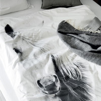 BY NORD Horse Adult Double Bed Duvet and Pillow Cover Set