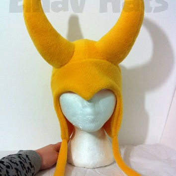 Loki Yellow fleece stuffed Horns Hat - great Costume Cosplay Convention or Gift for Avengers Lovers