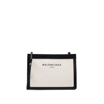Balenciaga Navy Pochette Black/ Natural - Women's Cross Body Bag
