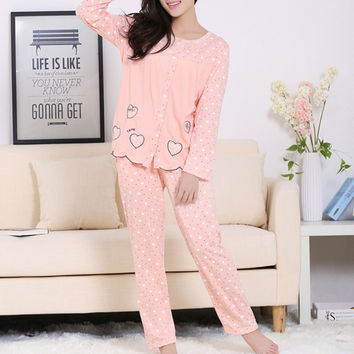 Fashion Women Autumn Pajama Sets Cotton Breathable Long Sleeve Sleepwear Sets Lovely Heart Printed Comfy Home Wear