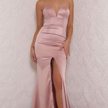 Push It Pink Strapless V Neck Slit Maxi Dress Evening Gown