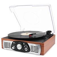 1byone Belt-Drive 3-Speed Stereo Turntable with Built in Speakers, Supports Vinyl to MP3 Recording, USB MP3 Playback, and RCA Output, Natural Wood