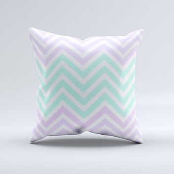 Light Teal & Purple Sharp Chevron  Ink-Fuzed Decorative Throw Pillow