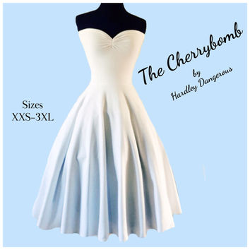The Cherrybomb White Knit Strapless Dress, ROCKABILLY Wedding, Semi Formal Pinup, Sweetheart Neckline, Special Occasion Bridesmaid Dress
