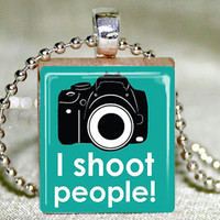 Scrabble Tile Jewelry - Scrabble Tile Pendant - I Shoot People Scrabble Pendant with Necklace and Matching Gift Tin