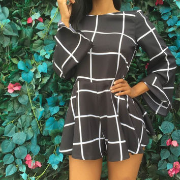 Black Plaid Bell Sleeve Skater Dress
