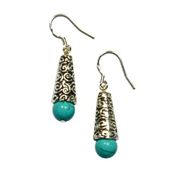 Lana Gemstone Tibetan Silver Earrings
