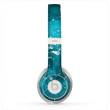 The Abstract Blue Paint Splatter Skin for the Beats by Dre Solo 2 Headphones