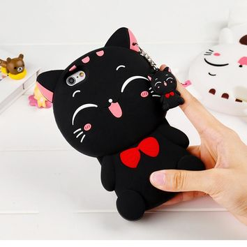 LOVECOM Cute Silicon 3D Cat Bow Case For iphone 5 5S SE 6 7 8 Plus X Cartoon Animal Lovely Rubber Phone Cases Back Cover