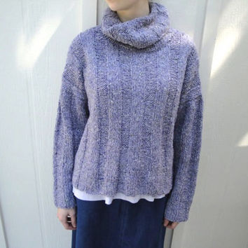 Cowl Neck Pullover Sweater size Medium, Hand Knit Wool Silk Cashmere, Cropped Turtleneck, Lavender Purple Tweed