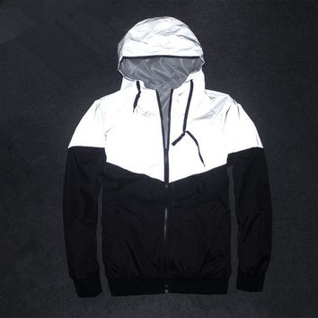Men Jacket Autumn Patchwork Reflective 3m Jacket Hip Hop Waterproof Windbreaker Men Coat