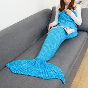 Winter&Spring Warm Handmade Knitted Mermaid Sofa Blanket