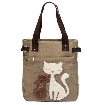Casual Women Canvas Cute Cat Pattern Handbag Bucket Tote bag Ladies Shoulder Bags High Quality Women Bag Bolsos Mujer