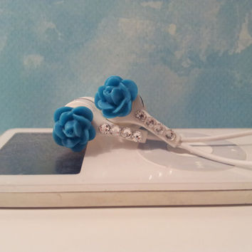 Super cute  Peacock Blue Rose earbuds with Swarovski Crystals