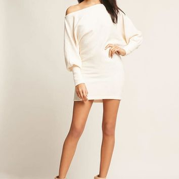 Ribbed Batwing Sweater Dress