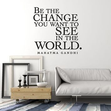 Vinyl Wall Decal Mahatma Gandhi Inspiration Quote Saying Words Be Change Stickers Mural (ig6025)
