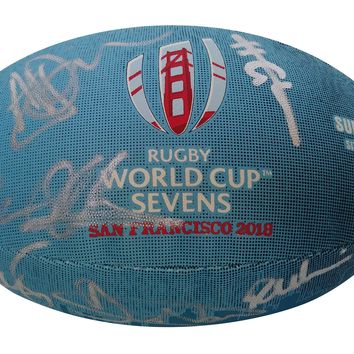 2018 England Rugby National Union Team Autographed Rugby World Cup Sevens Logo Ball, Proof Photos