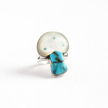 Sale - Vintage Sterling Silver Turquoise & Mother of Pearl Mushroom Ring - Size 6 1/2 Retro Southwestern Native American Nature Jewelry