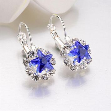 Police Support Crystal Star Earrings