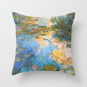 Claude Monet, waterlily pond on canvas, vintage floral Throw Pillow by ArtsCollection
