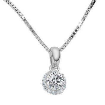 Flora .36CT Round Cut Halo IOBI Cultured Diamond Solitaire Pendant