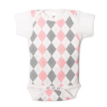 UnderBib Pink & Grey Argyle Short Sleeve Bodysuit