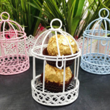 Wedding favor box Bird cage wire wedding favor box idea fuschia birdcage wedding candle holder bird cage baby shower box