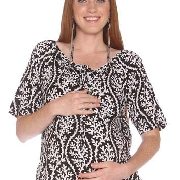 Due Maternity Macy Pregnancy And Beyond Button Front Top - Black/White