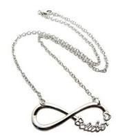 "Belieber Heart Infinity Loop Pendant 3mm 18"" Link Chain Necklace in Silver-Tone"