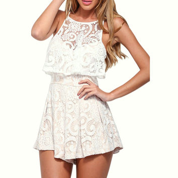 Summer Sleeveless Ruffled Lace Sportswear Sling Back Zipper Jumpsuits Short Women Rompers Spaghetti Straps Combinaison Femme