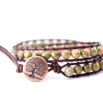 Tree of life wrap bracelet // green gemstone wrap bracelet // coral and green bracelet // green bohemian bracelet // green hippie bracelet